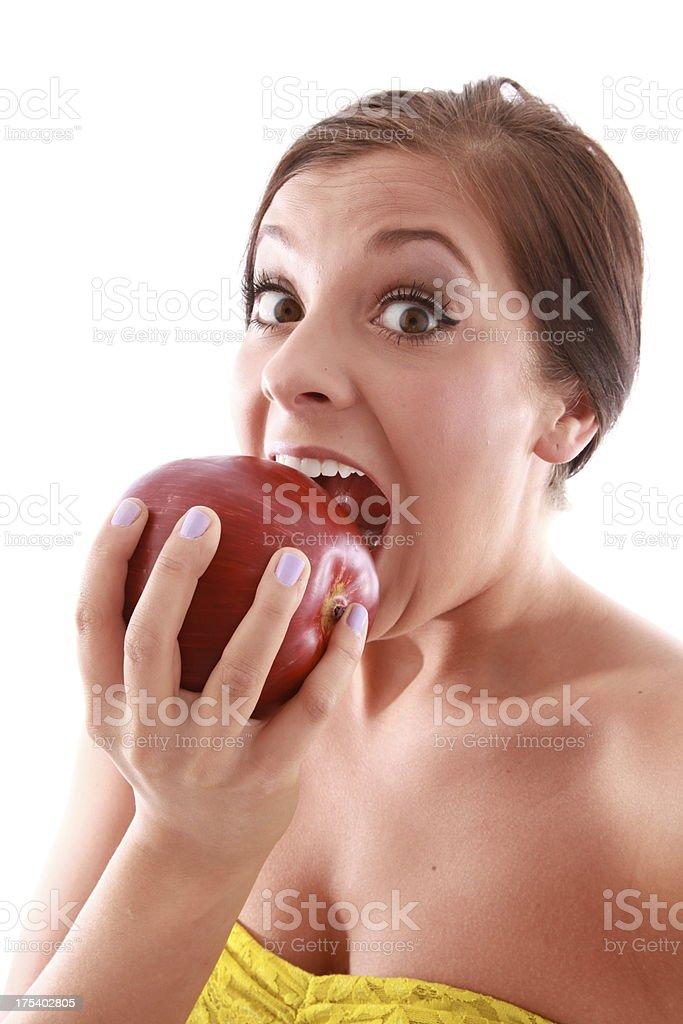 Mujer con apple foto de stock libre de derechos