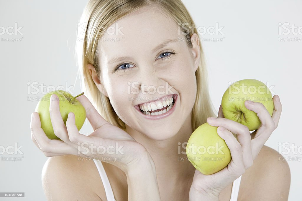 woman with apples royalty-free stock photo