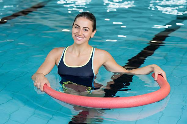 Woman with aqua tube - foto stock
