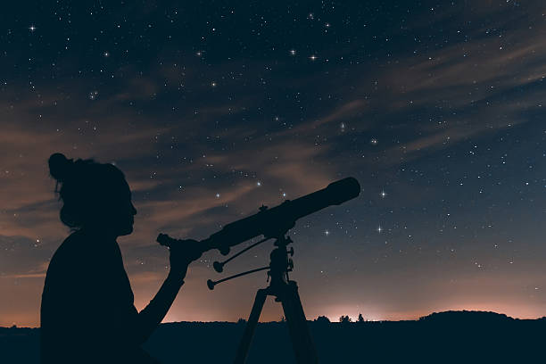 Woman with astronomical telescope. Night sky, with clouds and constellations Woman with astronomical telescope. Night sky, with clouds and constellations, Hercules, Draco, Ursa Major, Ursa Minor, Big Dipper, Botes big dipper constellation stock pictures, royalty-free photos & images