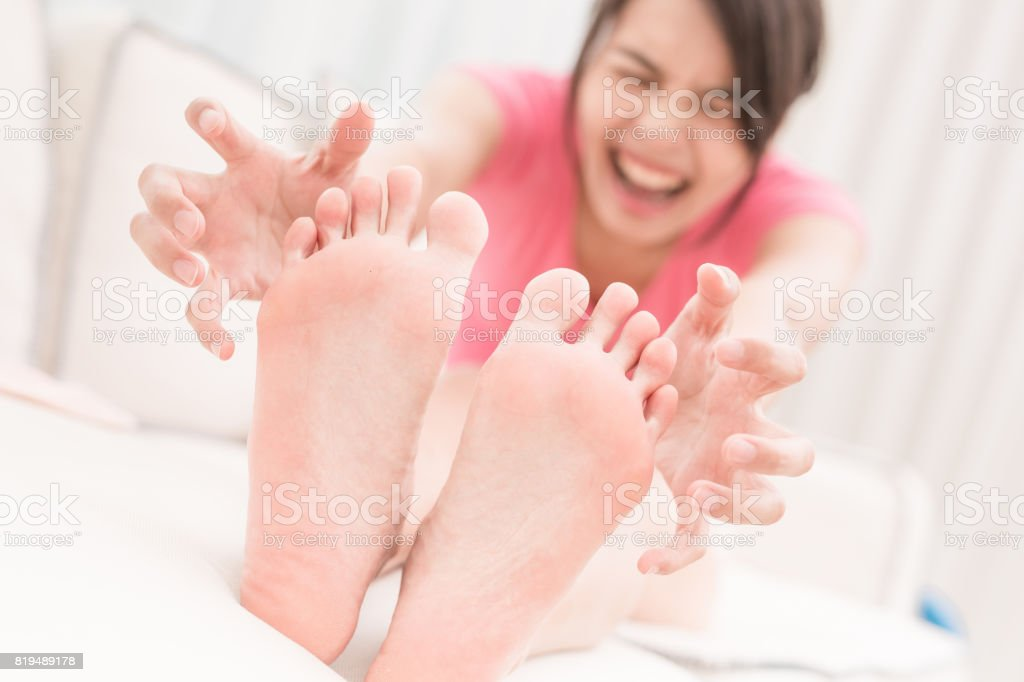woman with athlete foot stock photo