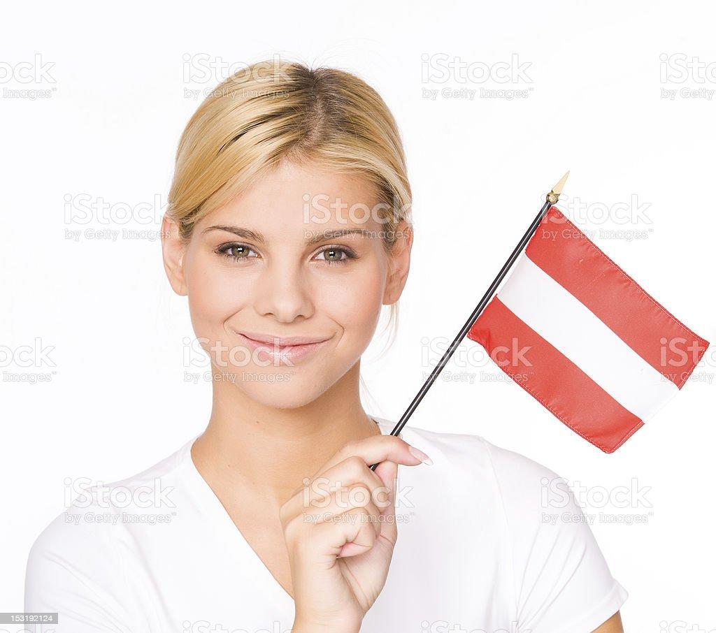 Woman with Austria flag royalty-free stock photo