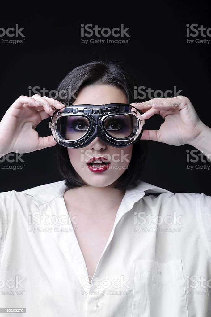 woman with aviator glasses royalty-free stock photo