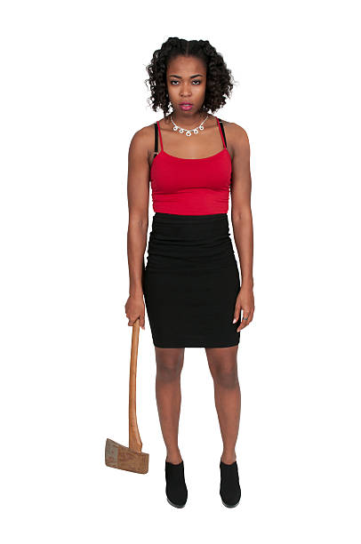 Woman with Axe stock photo