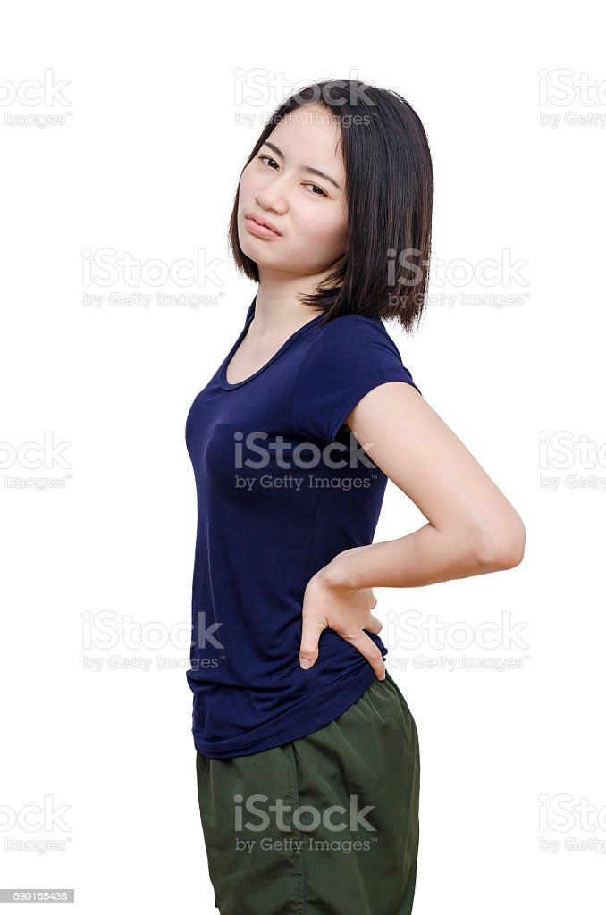 woman with back pain over white stock photo