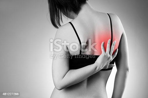 istock Woman with backache. Pain in the human body 481227266