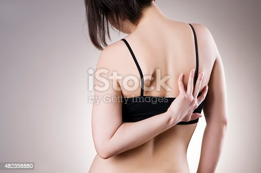 istock Woman with backache. Pain in the human body 482358880