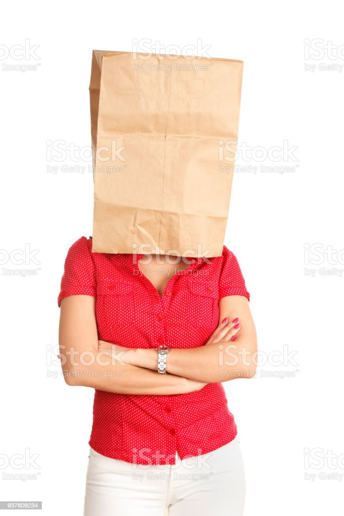 Woman with Bag Over Head stock photo