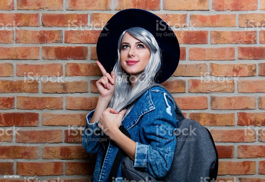 woman with bag stock photo