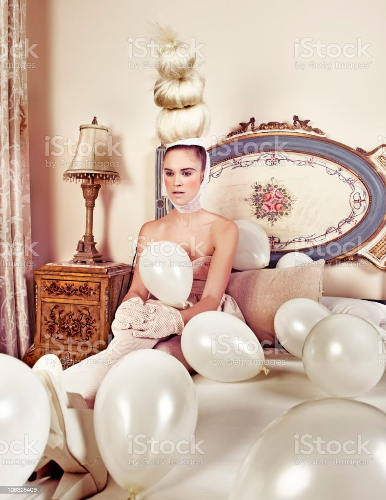 woman with balloons stock photo