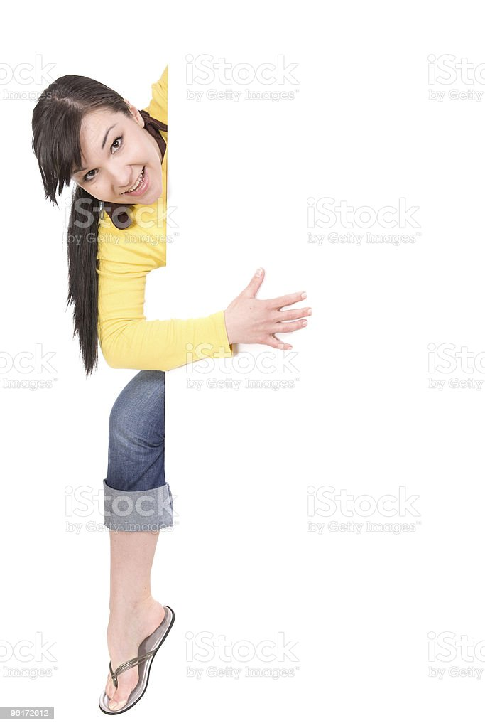 woman with banner royalty-free stock photo