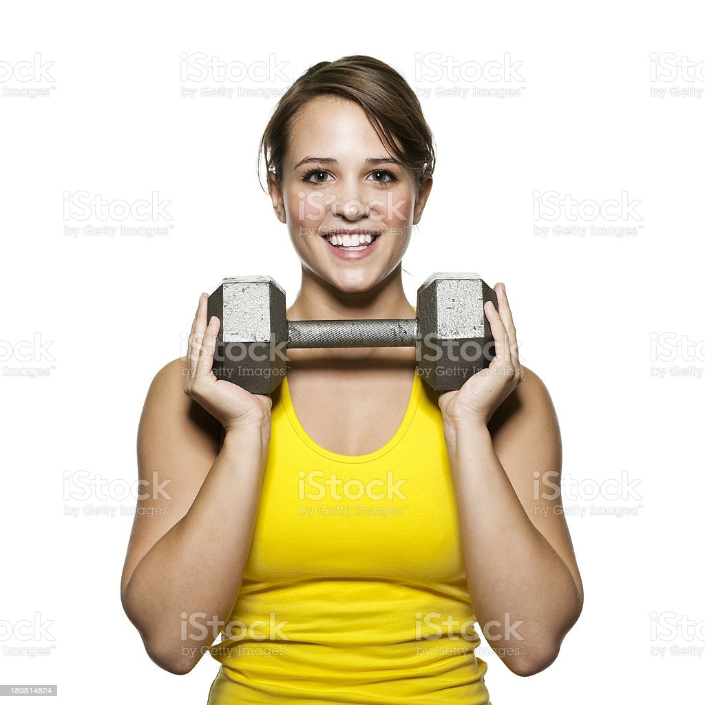 Woman with Barbell royalty-free stock photo