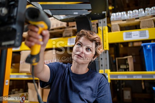 istock Woman with barcode reader in warehouse 1049697512