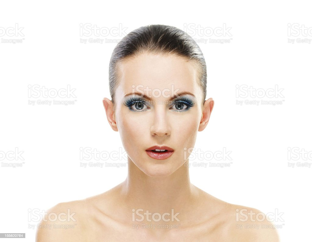 Woman with bared shoulders fullface royalty-free stock photo