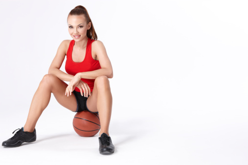 Woman With Basket Ball Stock Photo - Download Image Now