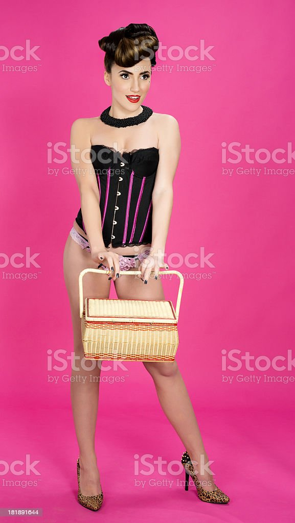 woman with basket royalty-free stock photo