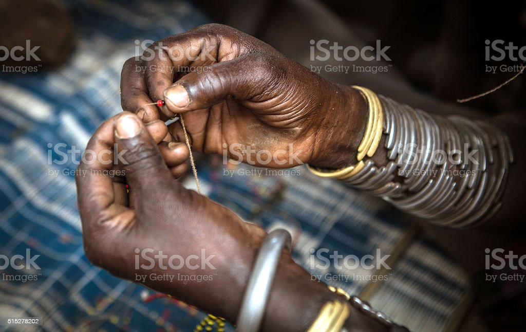 Woman with beads stock photo