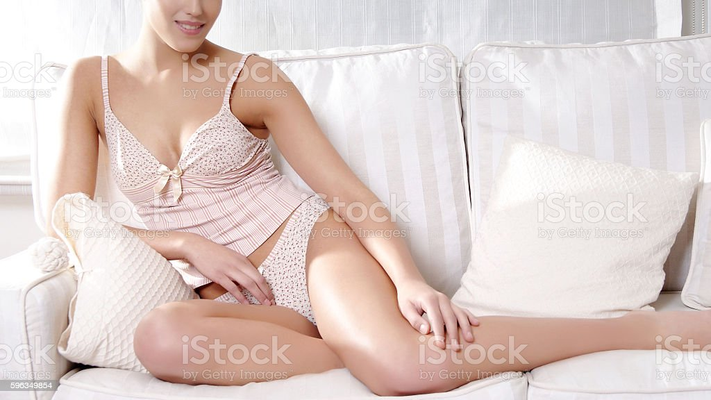 woman with beautiful body relax at home royalty-free stock photo