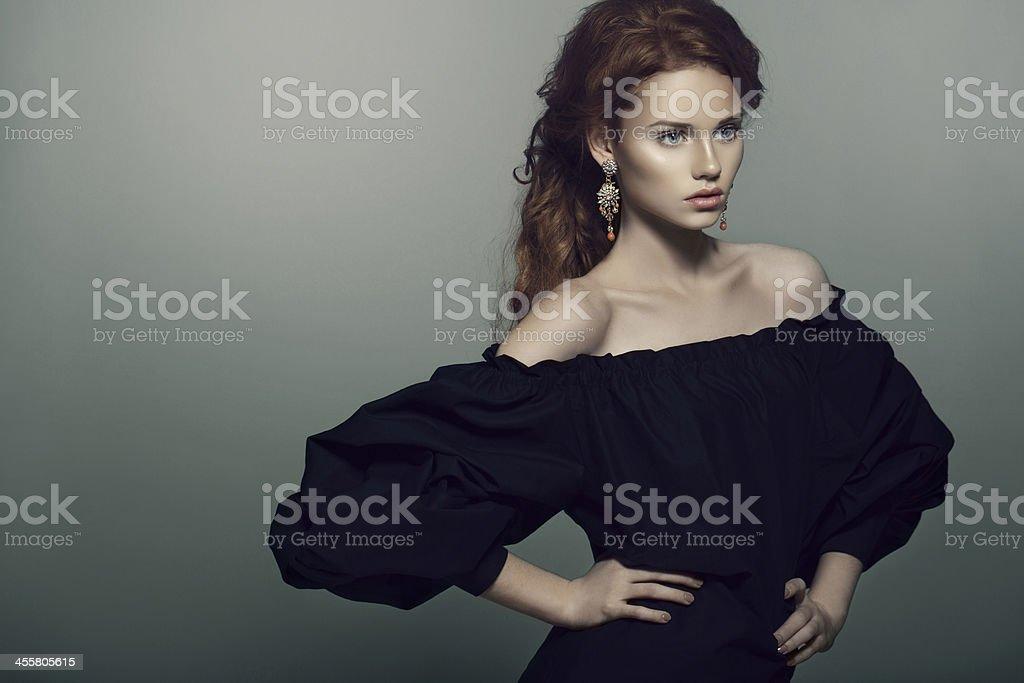 Woman with beautiful earings stock photo
