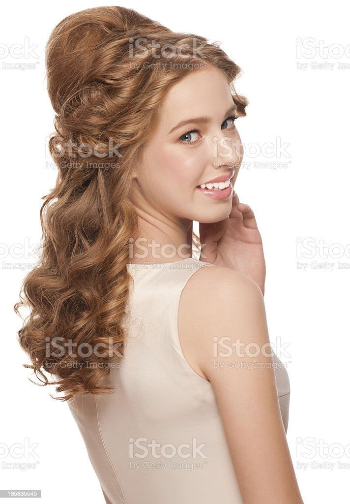 Woman with beautiful hairstyle stock photo