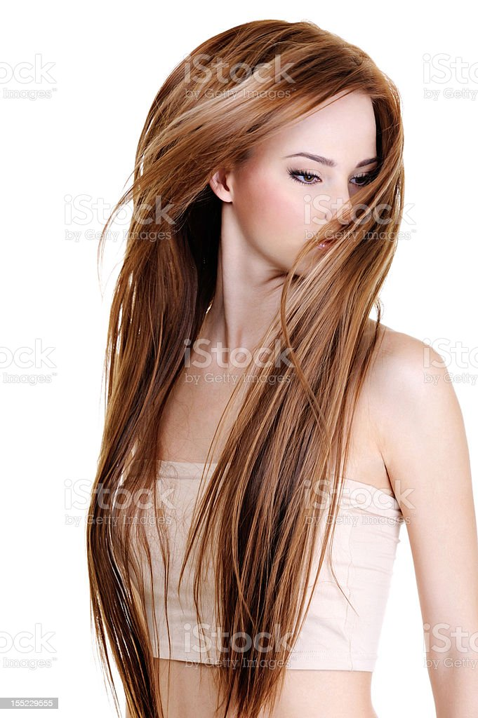 Woman with beauty long straight hairs royalty-free stock photo
