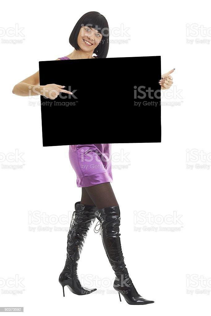 woman with big black billboard royalty-free stock photo