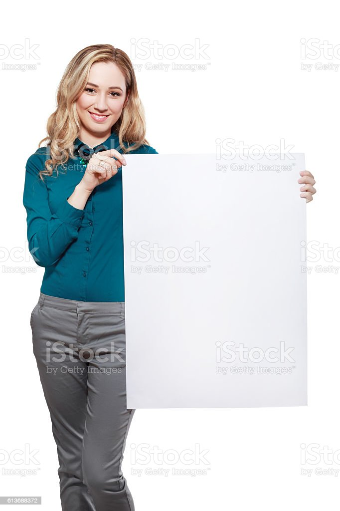 woman with big blank board stock photo