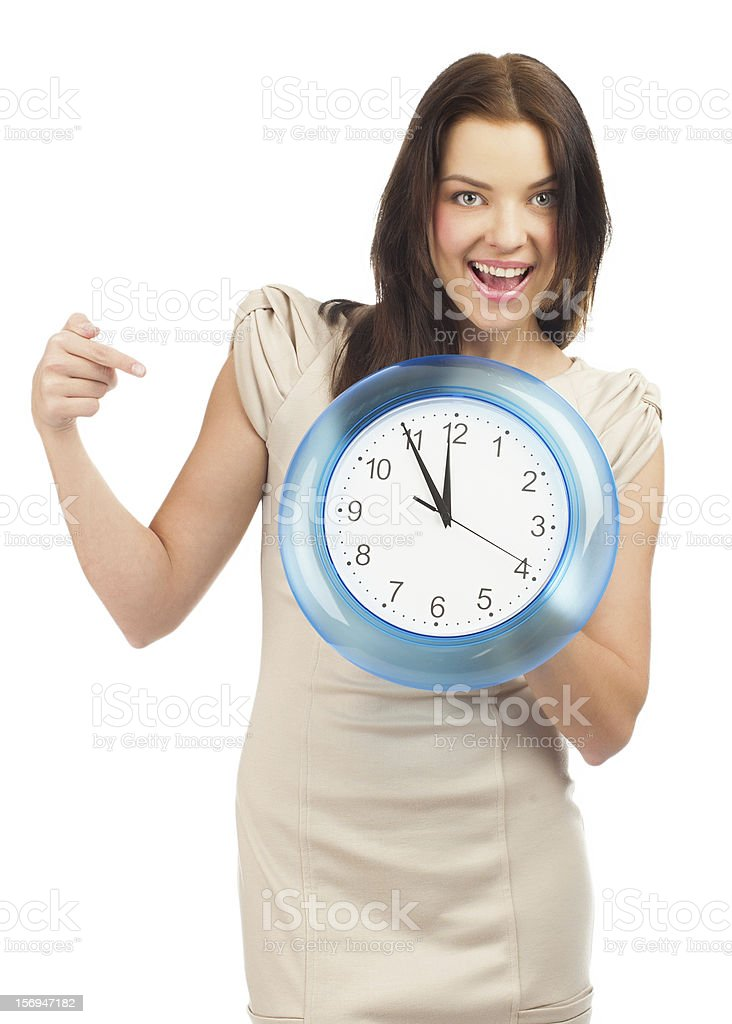 Woman with big clock royalty-free stock photo