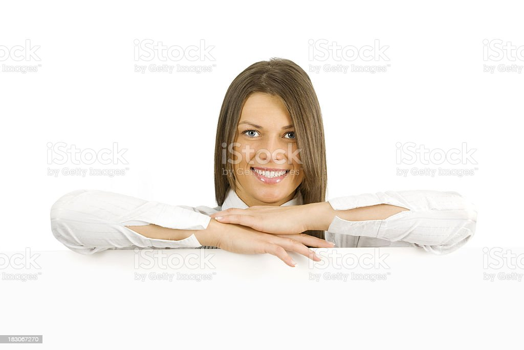 Woman with billboard royalty-free stock photo