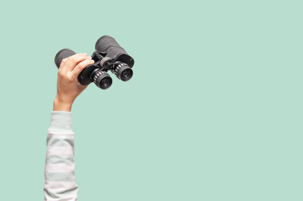 Woman with binoculars on green background Woman with binoculars on green background, looking through binoculars, journey, find and search concept. finding stock pictures, royalty-free photos & images