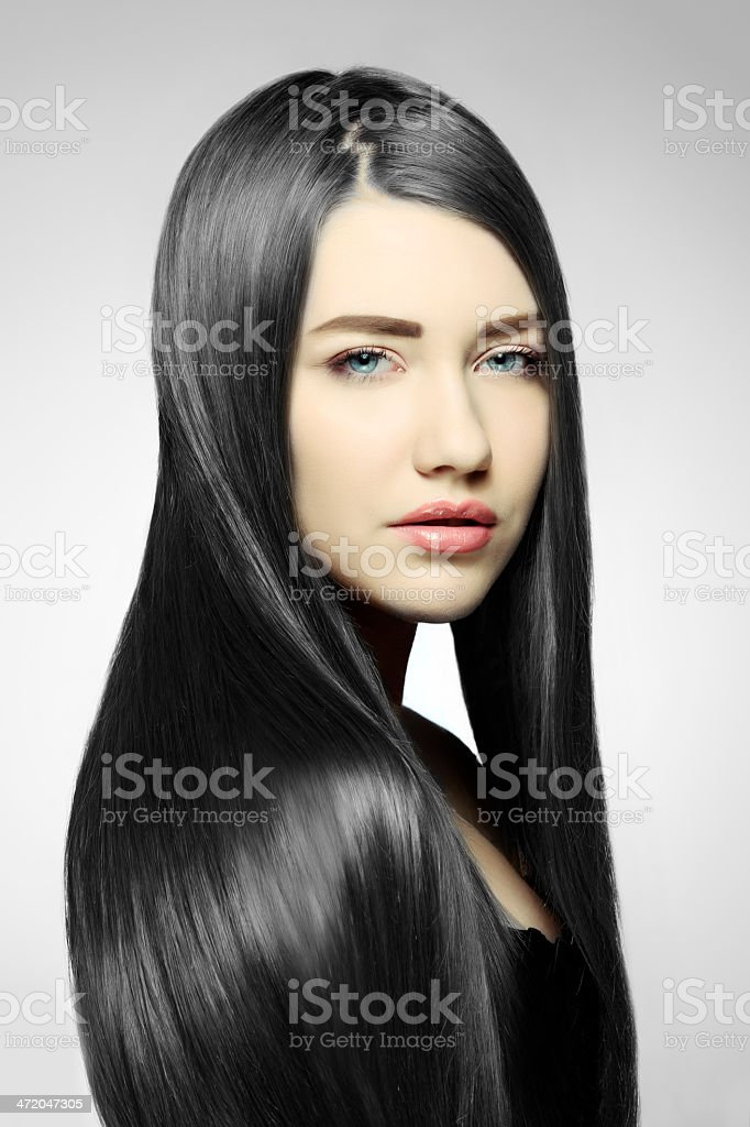 woman with black hair stock photo