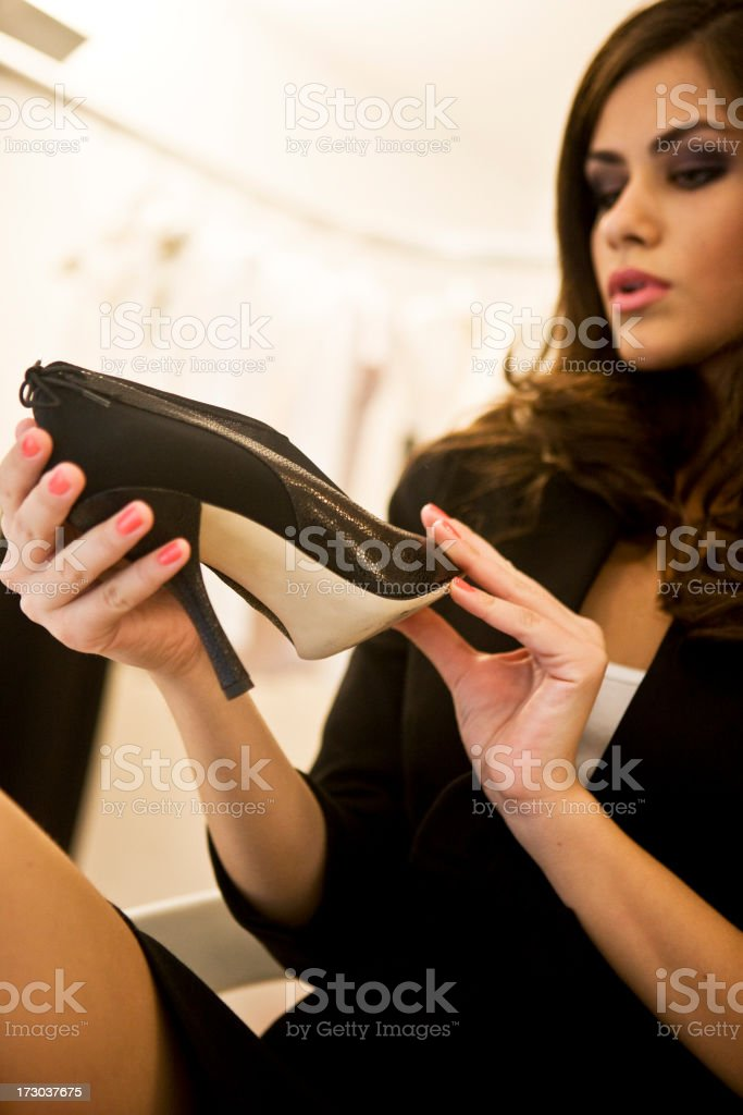 Woman with black shoe royalty-free stock photo