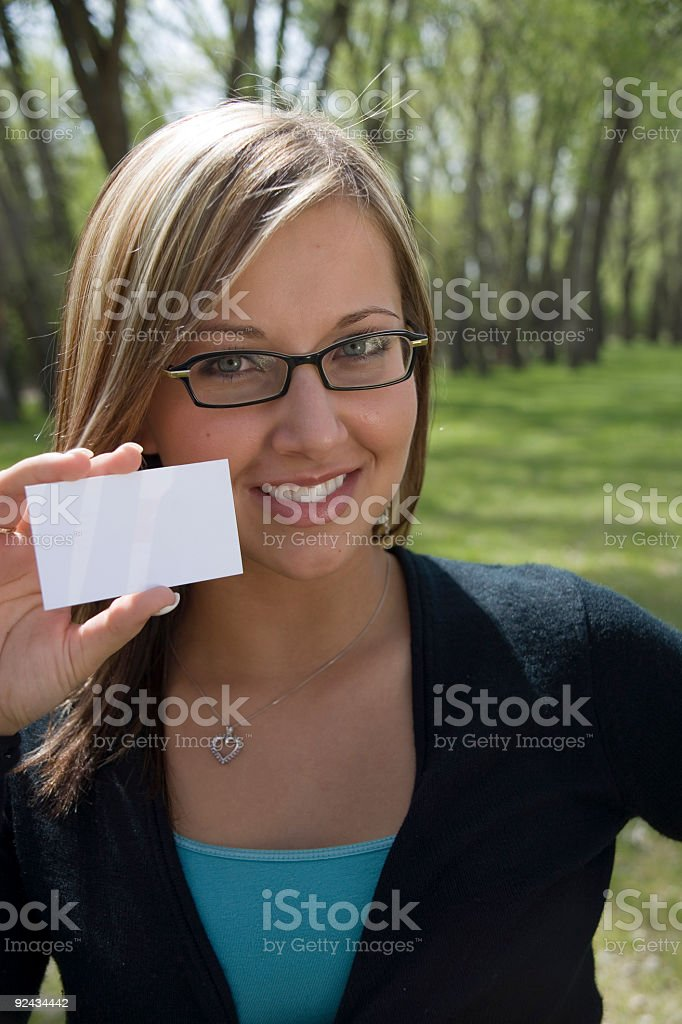 woman with blank card royalty-free stock photo