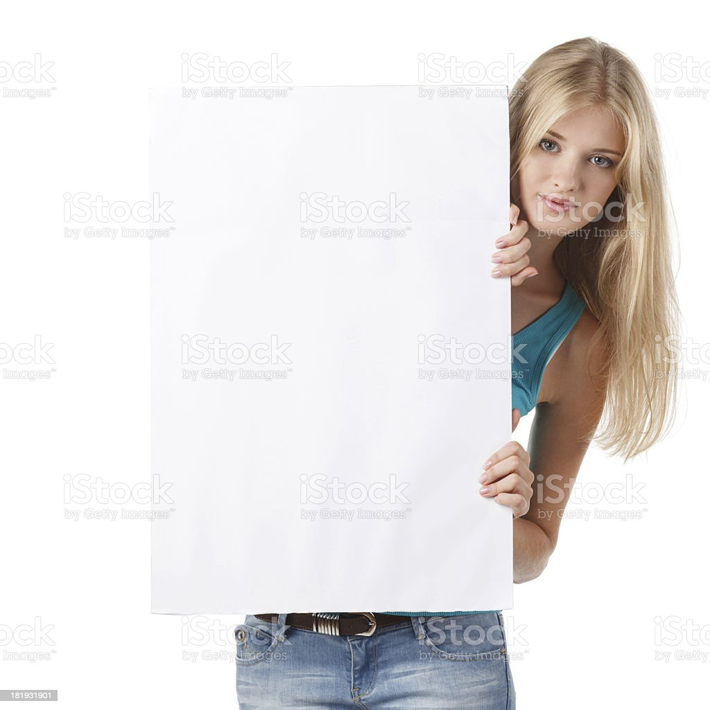 Woman with blank whiteboard royalty-free stock photo