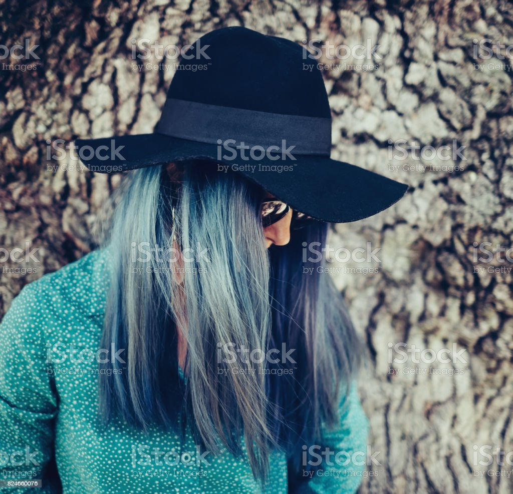 Woman with blue hair. stock photo