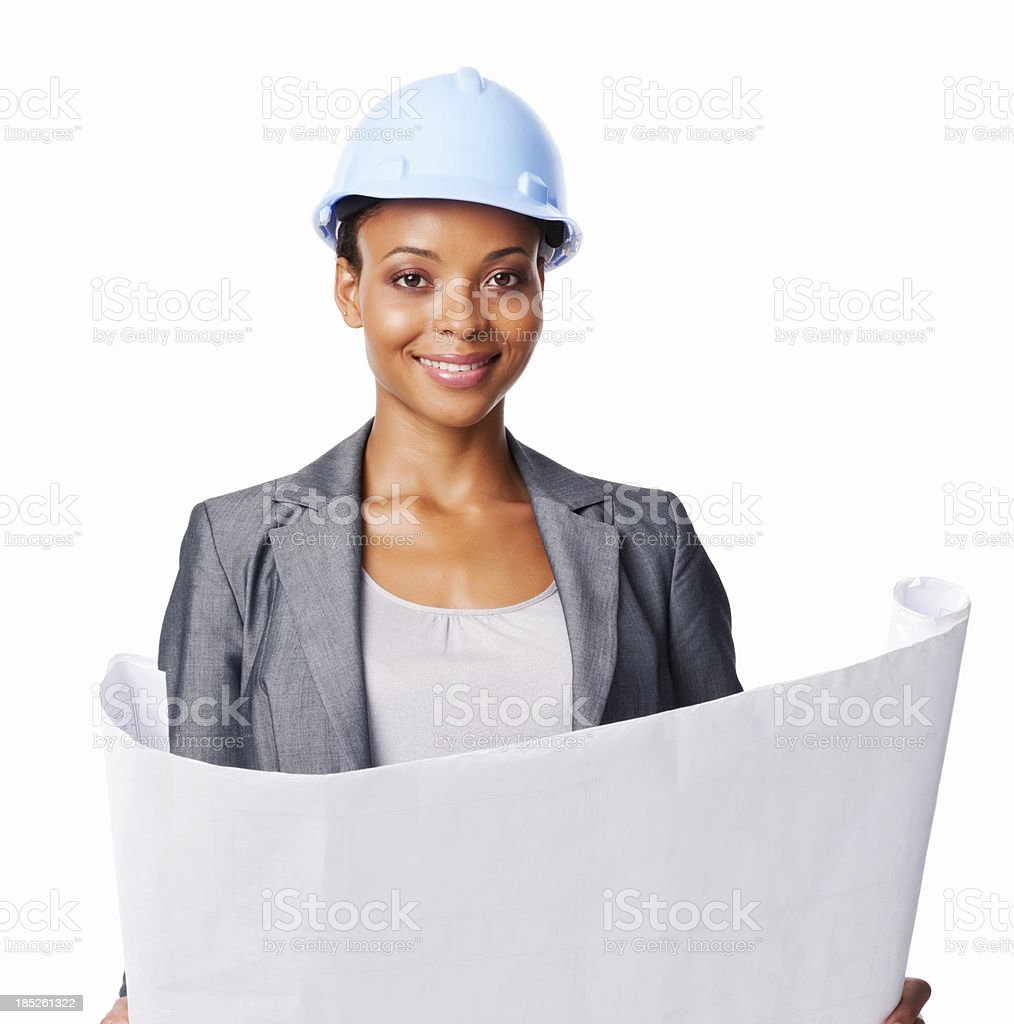 Woman With Blue Print - Isolated royalty-free stock photo