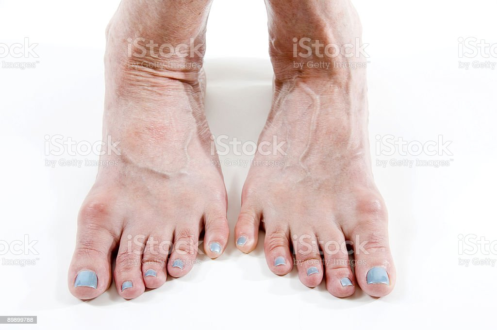 woman with blue toenails royalty-free stock photo