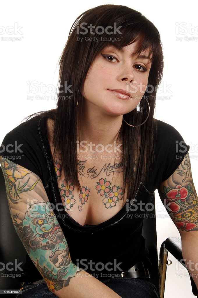 Woman with Body Art Tattoos royalty-free stock photo