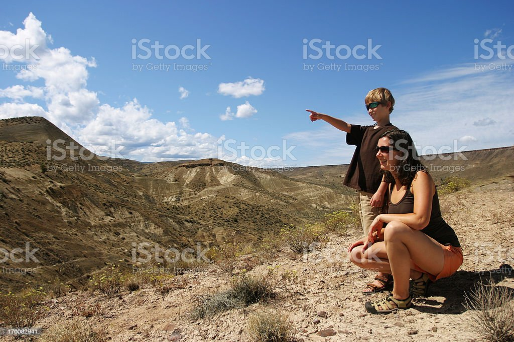 Woman with boy looking at view royalty-free stock photo