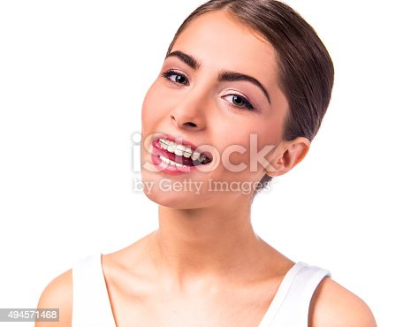 istock Woman with braces 494571468
