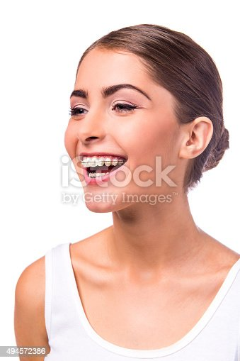 istock Woman with braces 494572386