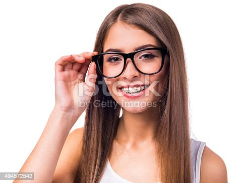istock Woman with braces 494572542