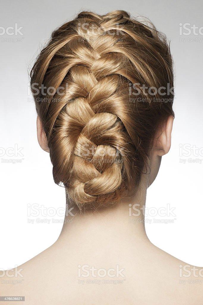 Woman with braid hairdo stock photo