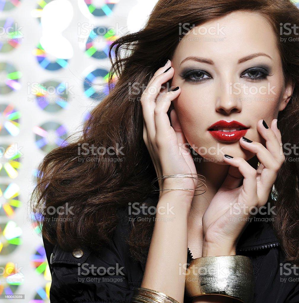 Woman with bright fashion eye make-up royalty-free stock photo