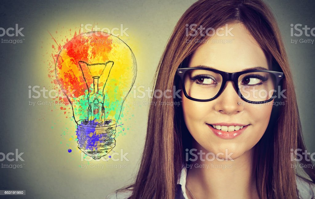 woman with bright idea royalty-free stock photo