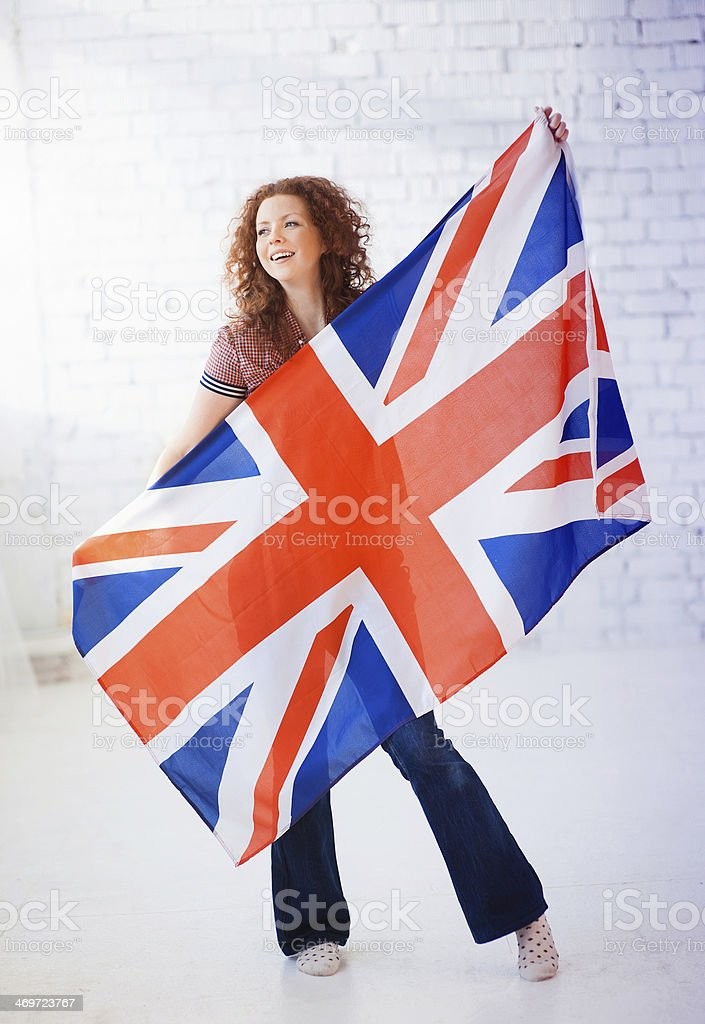 Woman with British flag stock photo