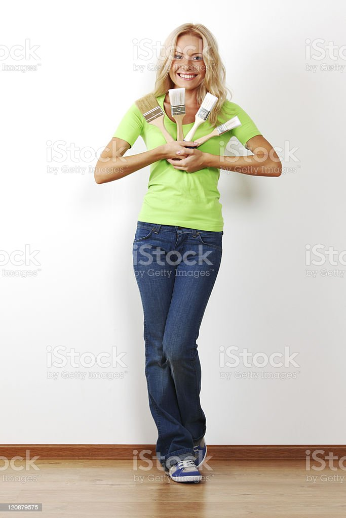 woman with brush royalty-free stock photo