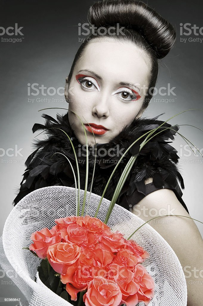woman with bunch of roses royalty-free stock photo