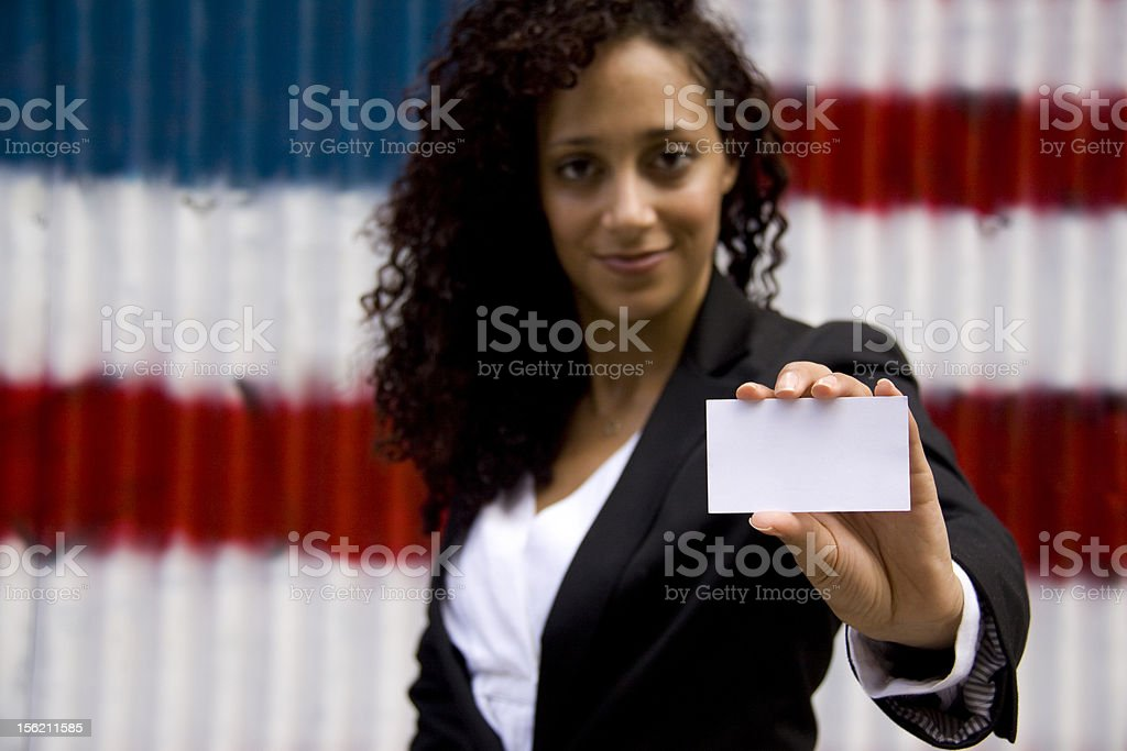 Woman With Business Card royalty-free stock photo