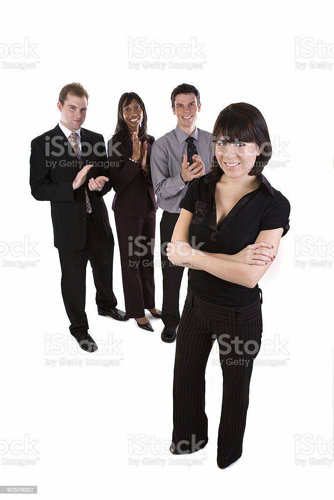 Woman with business team - full length royalty-free stock photo